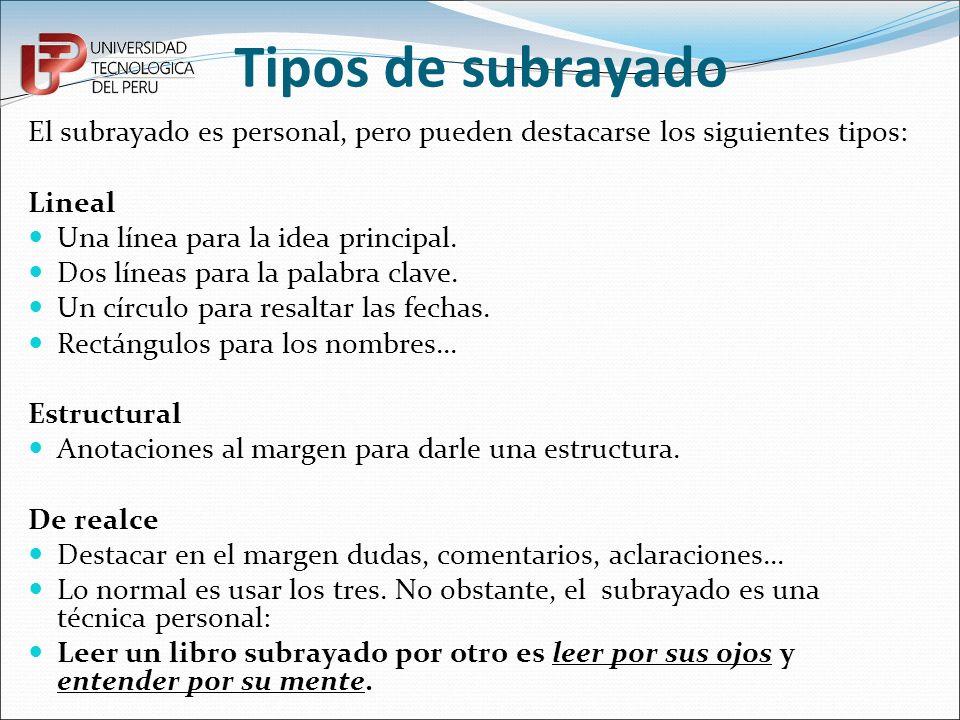 Tipos de subrayado El subrayado es personal, pero pueden destacarse los siguientes tipos: Lineal Una línea para la idea principal. Dos líneas para la