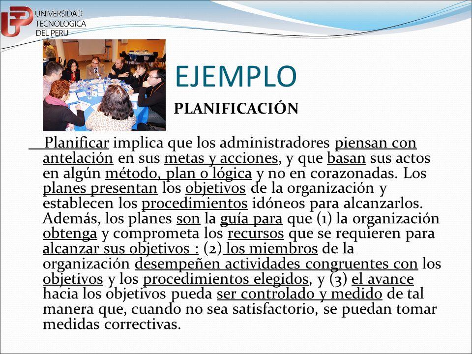EJEMPLO PLANIFICACIÓN Planificar implica que los administradores piensan con antelación en sus metas y acciones, y que basan sus actos en algún método