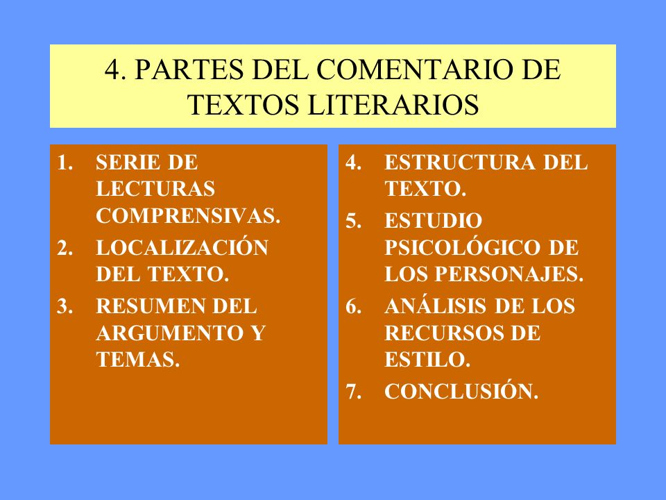 4.PARTES DEL COMENTARIO DE TEXTOS LITERARIOS 1.SERIE DE LECTURAS COMPRENSIVAS.