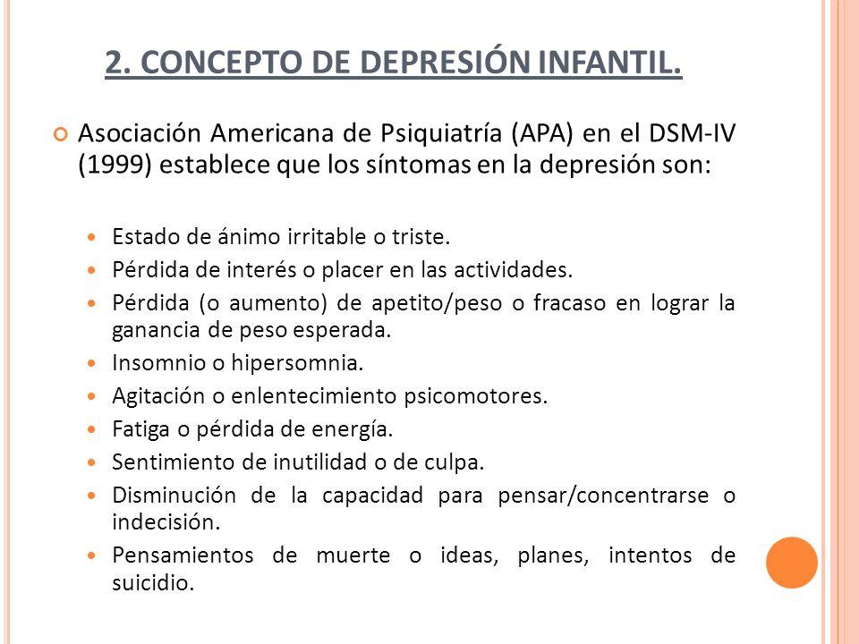 2. CONCEPTO DE DEPRESIÓN INFANTIL. Asociación Americana de Psiquiatría (APA) en el DSM-IV (1999) establece que los síntomas en la depresión son: Estad