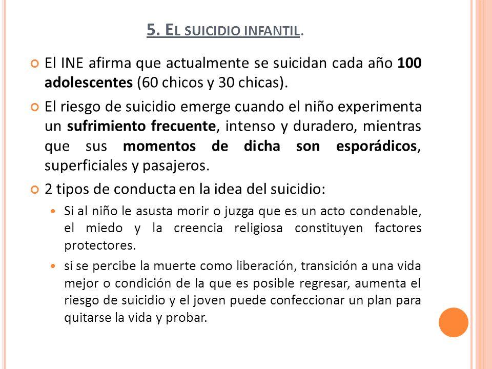 5. E L SUICIDIO INFANTIL. El INE afirma que actualmente se suicidan cada año 100 adolescentes (60 chicos y 30 chicas). El riesgo de suicidio emerge cu