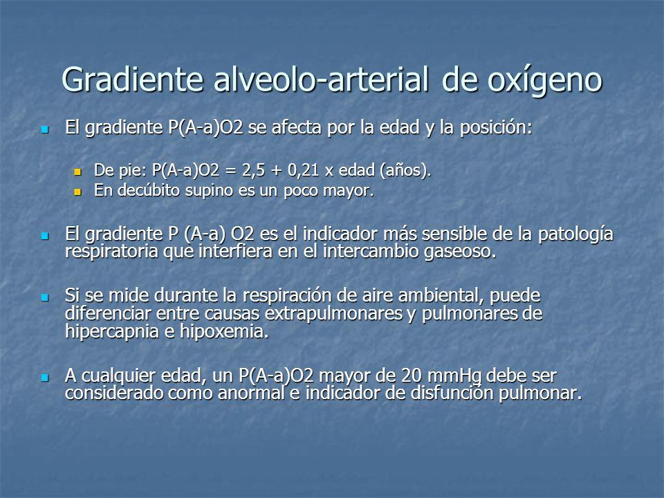 Gradiente alveolo-arterial de oxígeno El gradiente P(A-a)O2 se afecta por la edad y la posición: El gradiente P(A-a)O2 se afecta por la edad y la posi