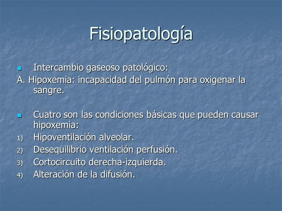 Fisiopatología Intercambio gaseoso patológico: Intercambio gaseoso patológico: A. Hipoxemia: incapacidad del pulmón para oxigenar la sangre. Cuatro so