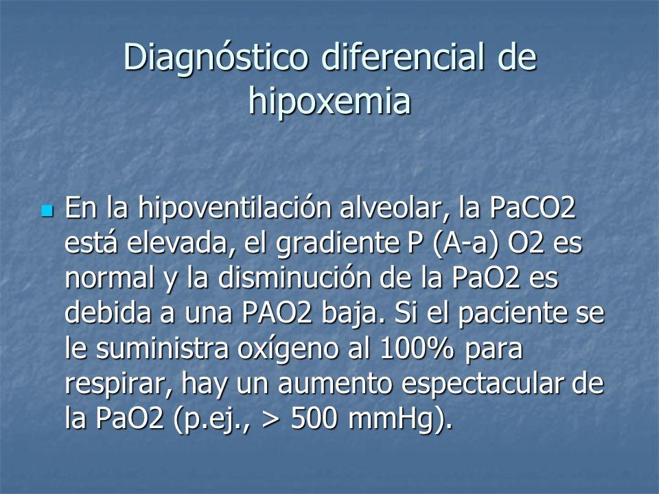 En la hipoventilación alveolar, la PaCO2 está elevada, el gradiente P (A-a) O2 es normal y la disminución de la PaO2 es debida a una PAO2 baja. Si el