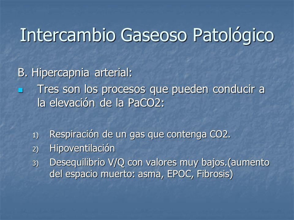 Intercambio Gaseoso Patológico B. Hipercapnia arterial: Tres son los procesos que pueden conducir a la elevación de la PaCO2: Tres son los procesos qu