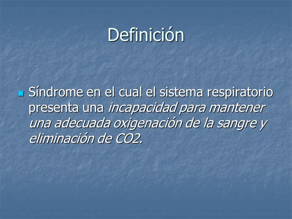 Definición Síndrome en el cual el sistema respiratorio presenta una incapacidad para mantener una adecuada oxigenación de la sangre y eliminación de C