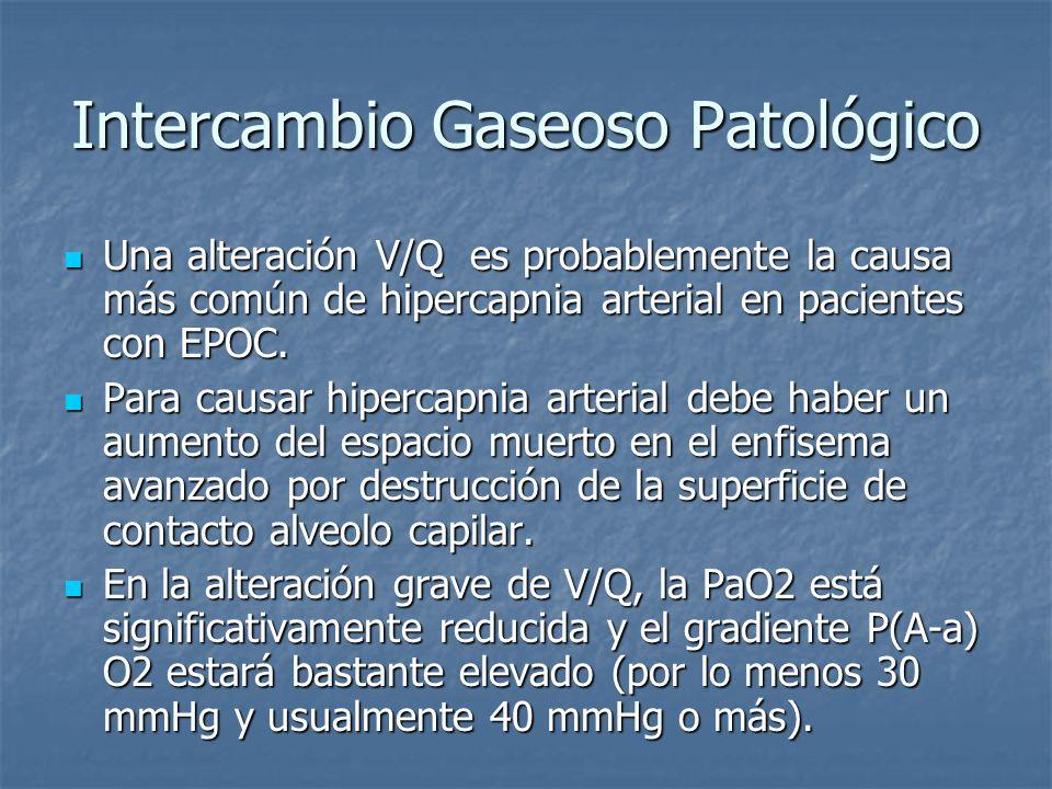 Intercambio Gaseoso Patológico Una alteración V/Q es probablemente la causa más común de hipercapnia arterial en pacientes con EPOC. Una alteración V/