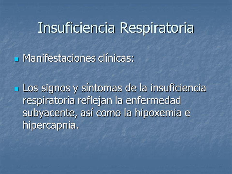 Insuficiencia Respiratoria Manifestaciones clínicas: Manifestaciones clínicas: Los signos y síntomas de la insuficiencia respiratoria reflejan la enfe