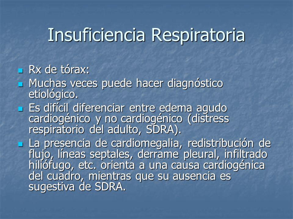 Insuficiencia Respiratoria Rx de tórax: Rx de tórax: Muchas veces puede hacer diagnóstico etiológico. Muchas veces puede hacer diagnóstico etiológico.