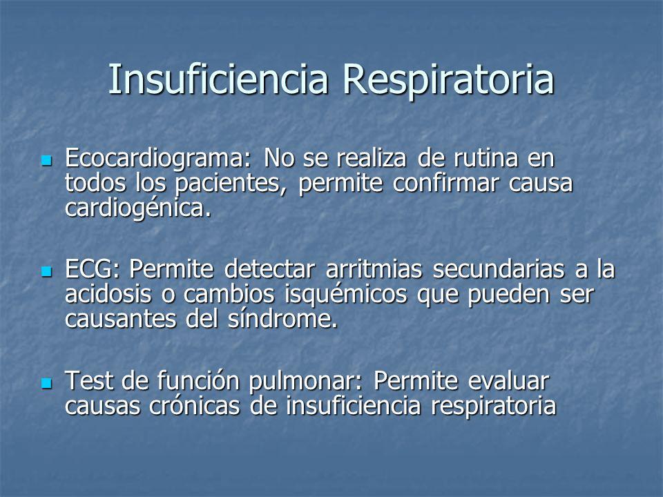 Insuficiencia Respiratoria Ecocardiograma: No se realiza de rutina en todos los pacientes, permite confirmar causa cardiogénica. Ecocardiograma: No se