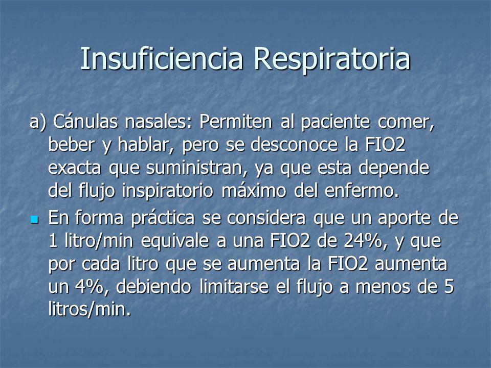 Insuficiencia Respiratoria a) Cánulas nasales: Permiten al paciente comer, beber y hablar, pero se desconoce la FIO2 exacta que suministran, ya que es