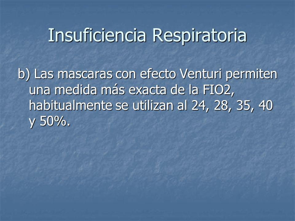 Insuficiencia Respiratoria b) Las mascaras con efecto Venturi permiten una medida más exacta de la FIO2, habitualmente se utilizan al 24, 28, 35, 40 y