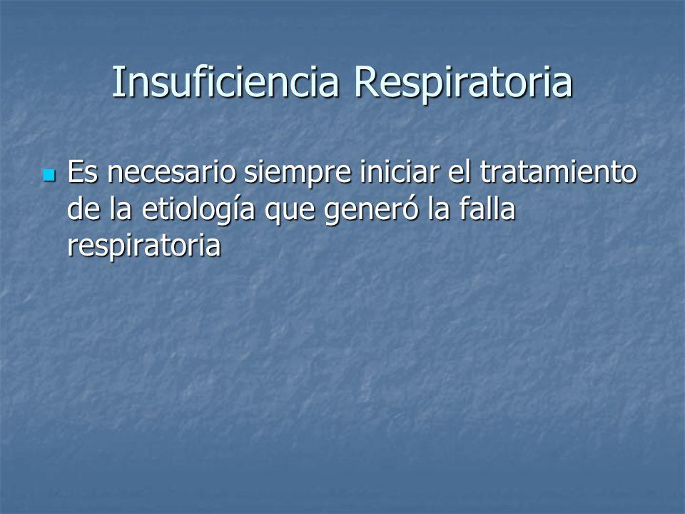 Insuficiencia Respiratoria Es necesario siempre iniciar el tratamiento de la etiología que generó la falla respiratoria Es necesario siempre iniciar e