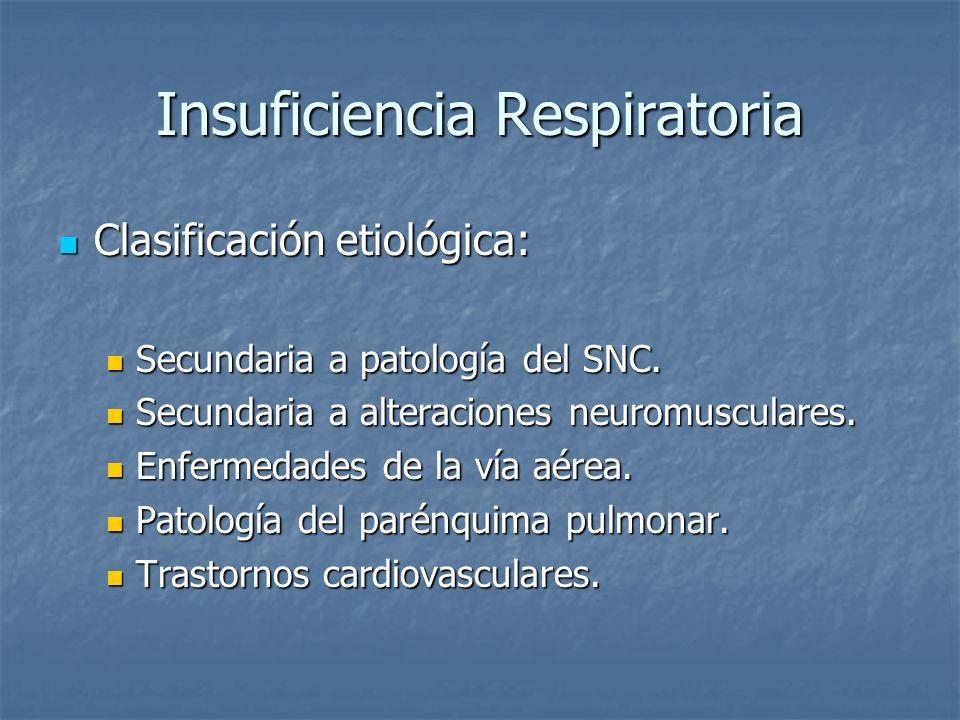 Insuficiencia Respiratoria Clasificación etiológica: Clasificación etiológica: Secundaria a patología del SNC. Secundaria a patología del SNC. Secunda