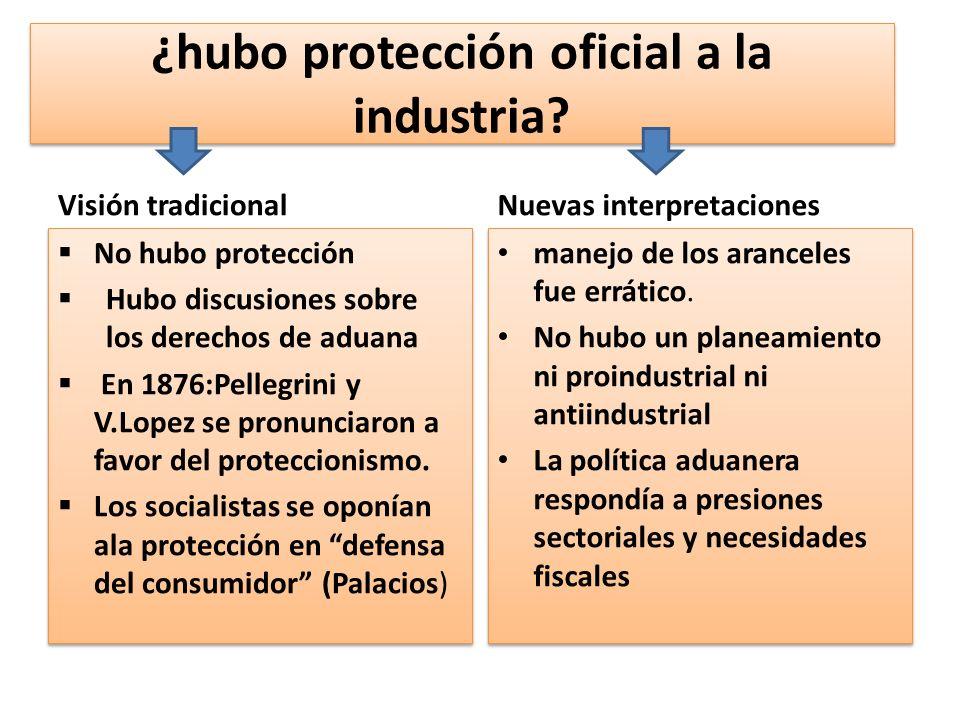 ¿hubo protección oficial a la industria? Visión tradicional No hubo protección Hubo discusiones sobre los derechos de aduana En 1876:Pellegrini y V.Lo