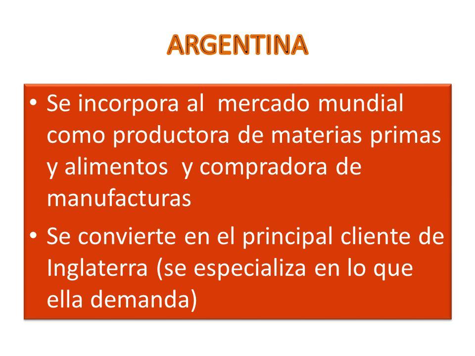 Se incorpora al mercado mundial como productora de materias primas y alimentos y compradora de manufacturas Se convierte en el principal cliente de In