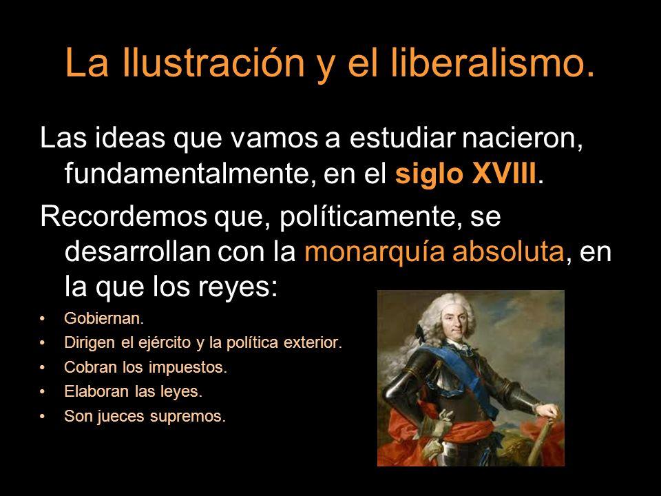 Las ideas que vamos a estudiar nacieron, fundamentalmente, en el siglo XVIII. Recordemos que, políticamente, se desarrollan con la monarquía absoluta,