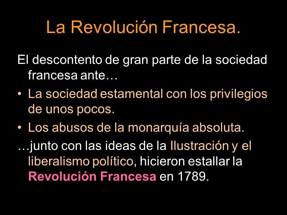 La Revolución Francesa. El descontento de gran parte de la sociedad francesa ante… La sociedad estamental con los privilegios de unos pocos. Los abuso