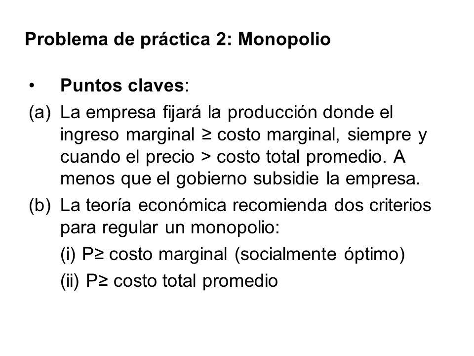 Problema de práctica 2: Monopolio Puntos claves: (a)La empresa fijará la producción donde el ingreso marginal costo marginal, siempre y cuando el prec