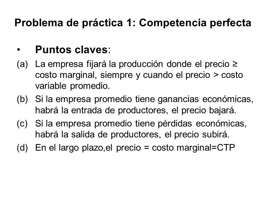 Problema de práctica 1: Competencia perfecta Puntos claves: (a)La empresa fijará la producción donde el precio costo marginal, siempre y cuando el pre