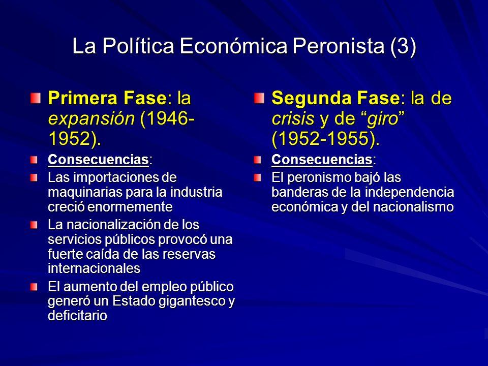La Política Económica Peronista (3) Primera Fase: la expansión (1946- 1952). Consecuencias: Las importaciones de maquinarias para la industria creció