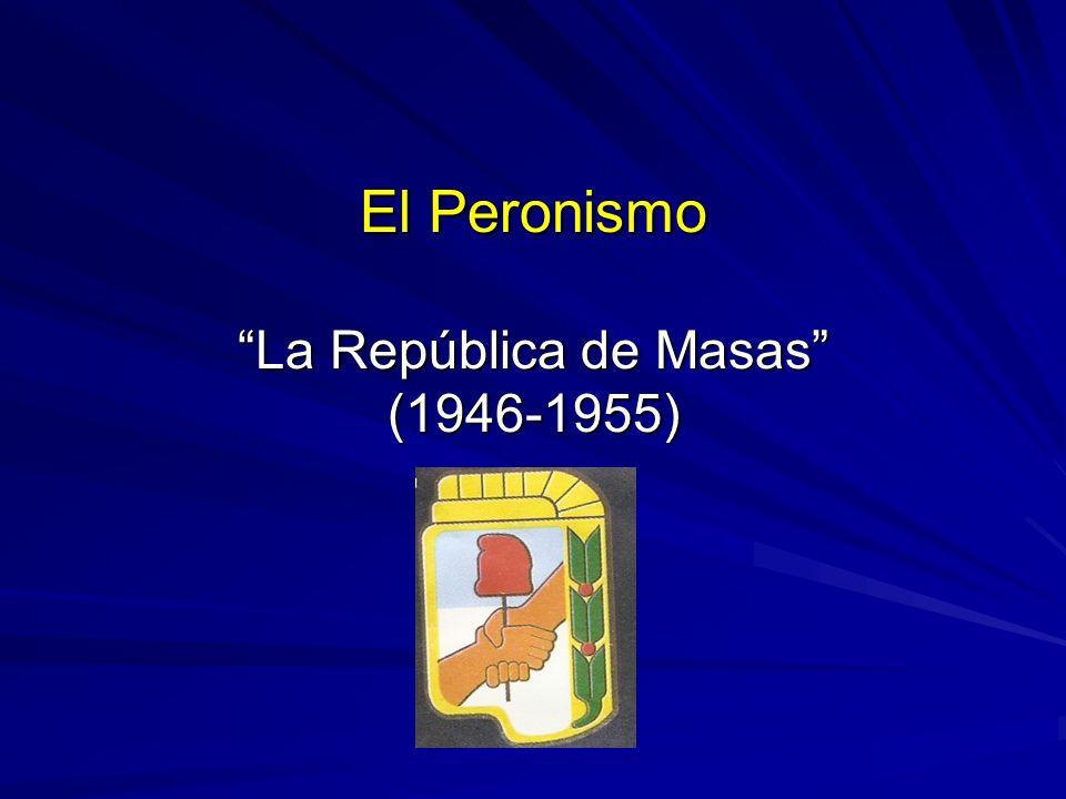 Los Gobiernos Peronistas De 1946 a 1952: Primera presidencia de Juan Domingo Perón De 1952 a 1955: Segunda presidencia de Juan Domingo Perón.