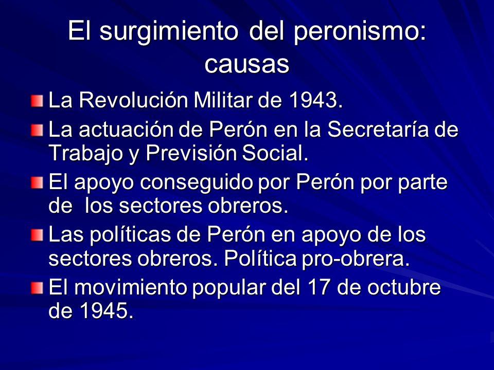 El surgimiento del peronismo: causas La Revolución Militar de 1943. La actuación de Perón en la Secretaría de Trabajo y Previsión Social. El apoyo con