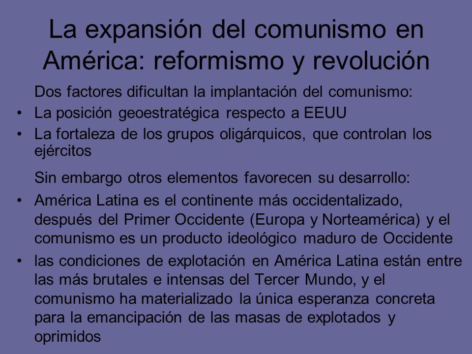 La expansión del comunismo en América: reformismo y revolución Sin embargo otros elementos favorecen su desarrollo: América Latina es el continente má