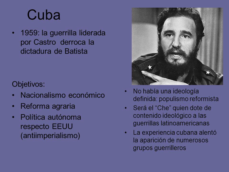 Cuba 1959: la guerrilla liderada por Castro derroca la dictadura de Batista Objetivos: Nacionalismo económico Reforma agraria Política autónoma respec