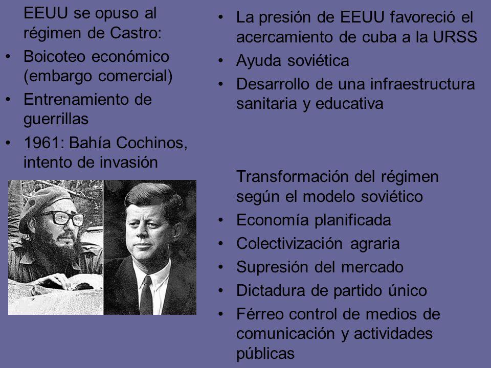 EEUU se opuso al régimen de Castro: Boicoteo económico (embargo comercial) Entrenamiento de guerrillas 1961: Bahía Cochinos, intento de invasión La pr