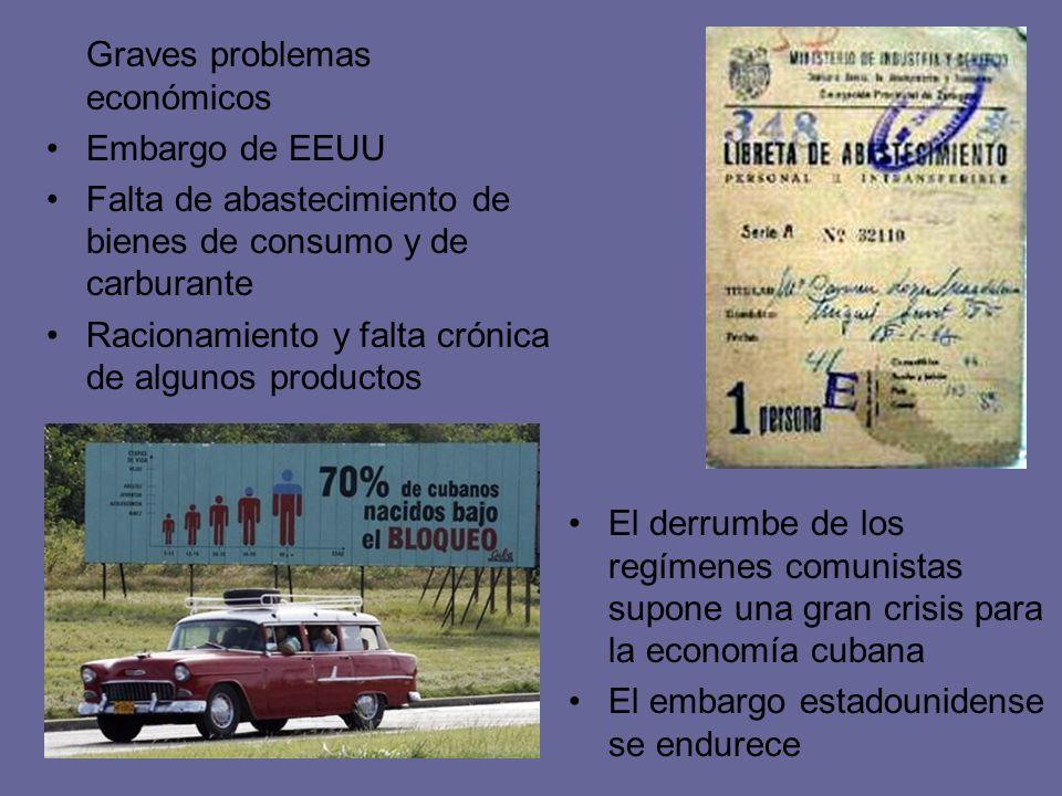 Graves problemas económicos Embargo de EEUU Falta de abastecimiento de bienes de consumo y de carburante Racionamiento y falta crónica de algunos prod