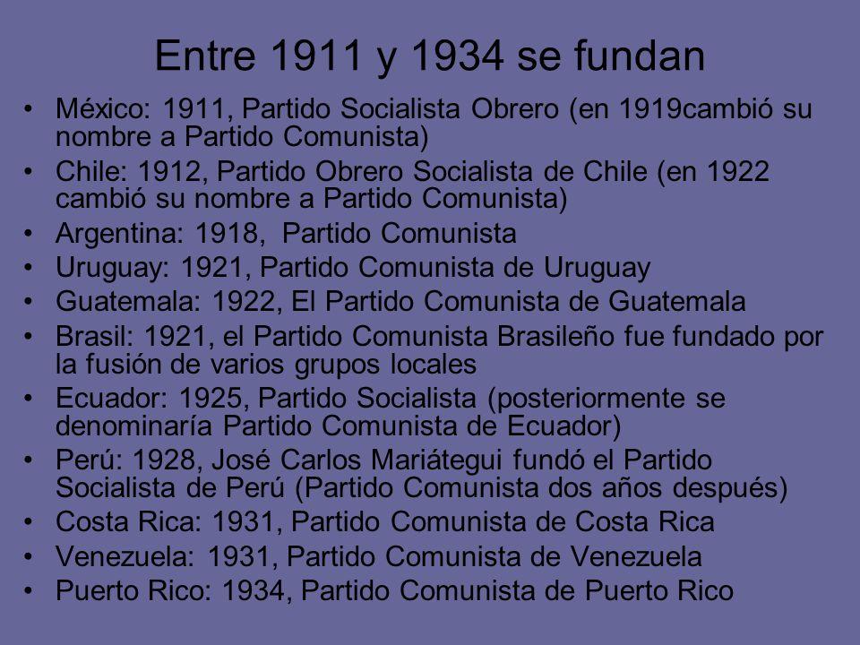 Entre 1911 y 1934 se fundan México: 1911, Partido Socialista Obrero (en 1919cambió su nombre a Partido Comunista) Chile: 1912, Partido Obrero Socialis