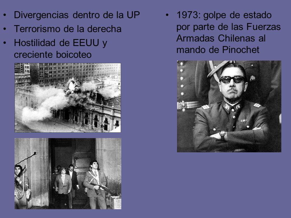 Divergencias dentro de la UP Terrorismo de la derecha Hostilidad de EEUU y creciente boicoteo 1973: golpe de estado por parte de las Fuerzas Armadas C