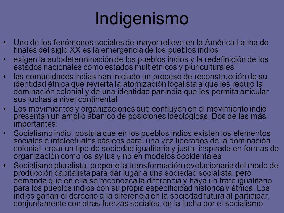 Indigenismo Uno de los fenómenos sociales de mayor relieve en la América Latina de finales del siglo XX es la emergencia de los pueblos indios exigen