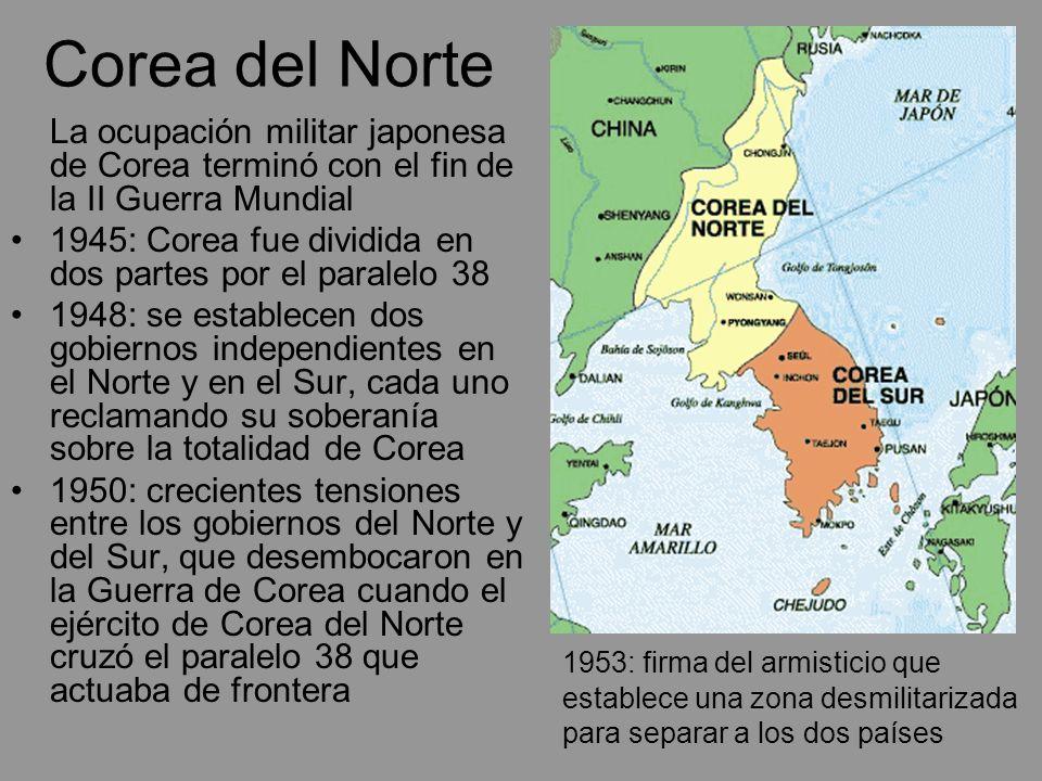 Corea del Norte La ocupación militar japonesa de Corea terminó con el fin de la II Guerra Mundial 1945: Corea fue dividida en dos partes por el parale