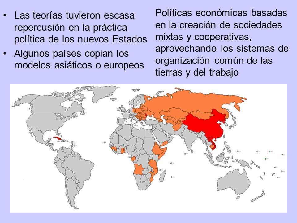Las teorías tuvieron escasa repercusión en la práctica política de los nuevos Estados Algunos países copian los modelos asiáticos o europeos Políticas
