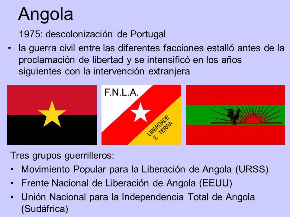 Angola 1975: descolonización de Portugal la guerra civil entre las diferentes facciones estalló antes de la proclamación de libertad y se intensificó