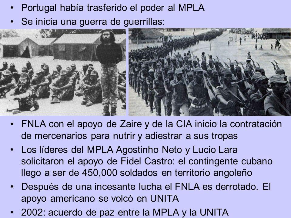 Portugal había trasferido el poder al MPLA Se inicia una guerra de guerrillas: FNLA con el apoyo de Zaire y de la CIA inicio la contratación de mercen