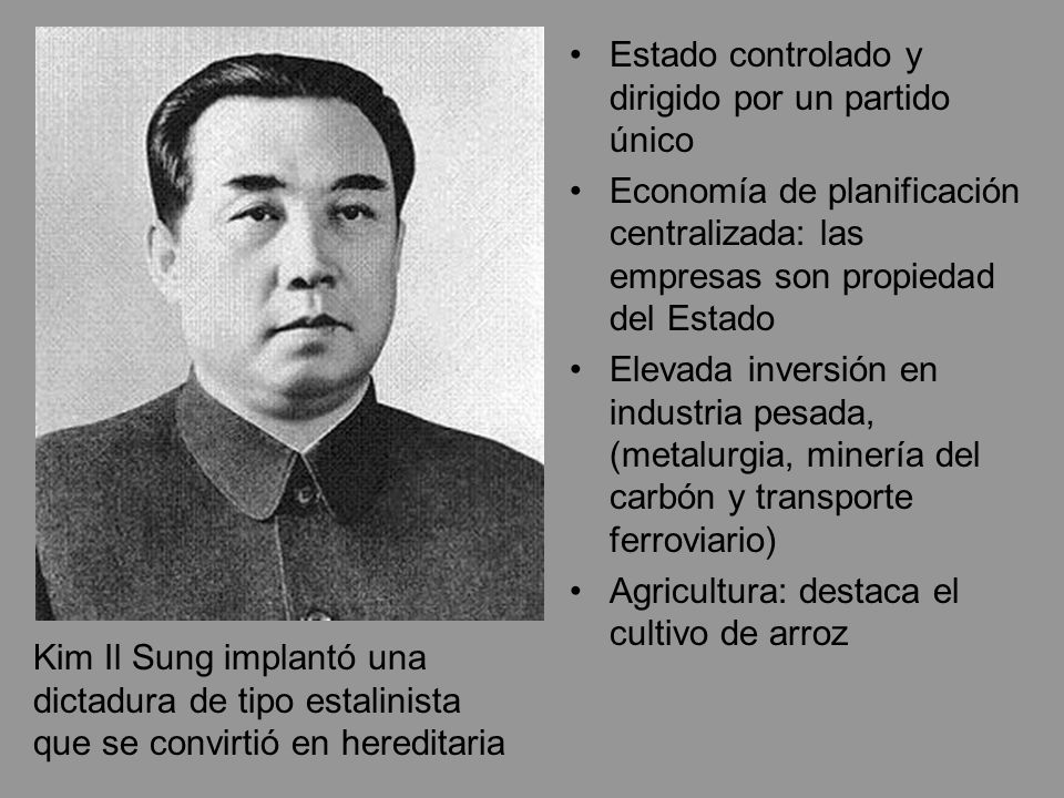 Estado controlado y dirigido por un partido único Economía de planificación centralizada: las empresas son propiedad del Estado Elevada inversión en i