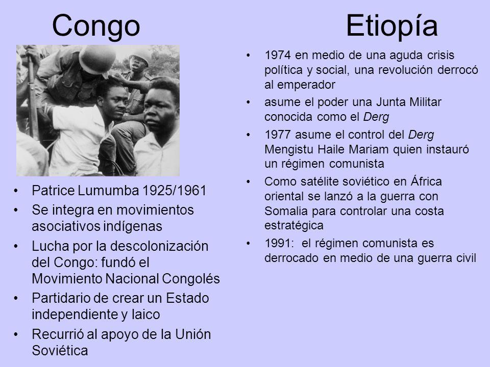 CongoEtiopía 1974 en medio de una aguda crisis política y social, una revolución derrocó al emperador asume el poder una Junta Militar conocida como e