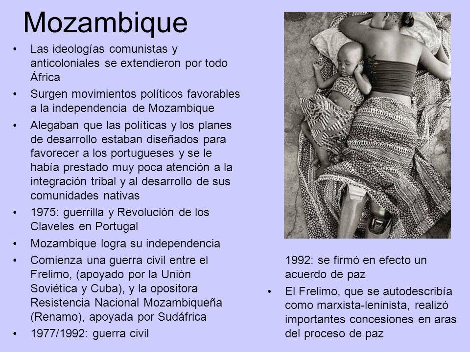 Mozambique Las ideologías comunistas y anticoloniales se extendieron por todo África Surgen movimientos políticos favorables a la independencia de Moz