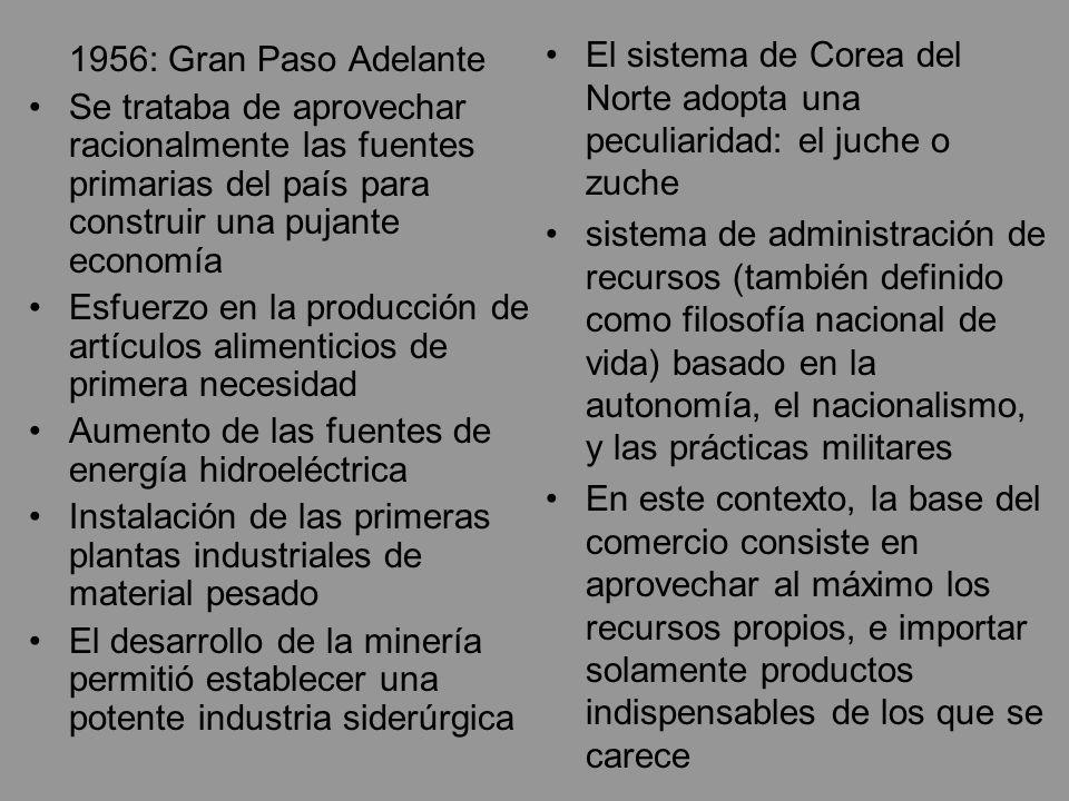 1956: Gran Paso Adelante Se trataba de aprovechar racionalmente las fuentes primarias del país para construir una pujante economía Esfuerzo en la prod
