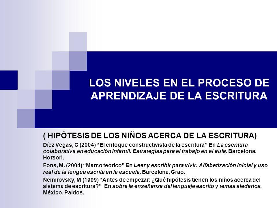 LOS NIVELES EN EL PROCESO DE APRENDIZAJE DE LA ESCRITURA ( HIPÓTESIS DE LOS NIÑOS ACERCA DE LA ESCRITURA) Díez Vegas, C (2004) El enfoque constructivi