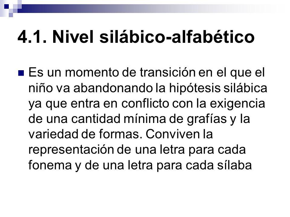 4.1. Nivel silábico-alfabético Es un momento de transición en el que el niño va abandonando la hipótesis silábica ya que entra en conflicto con la exi