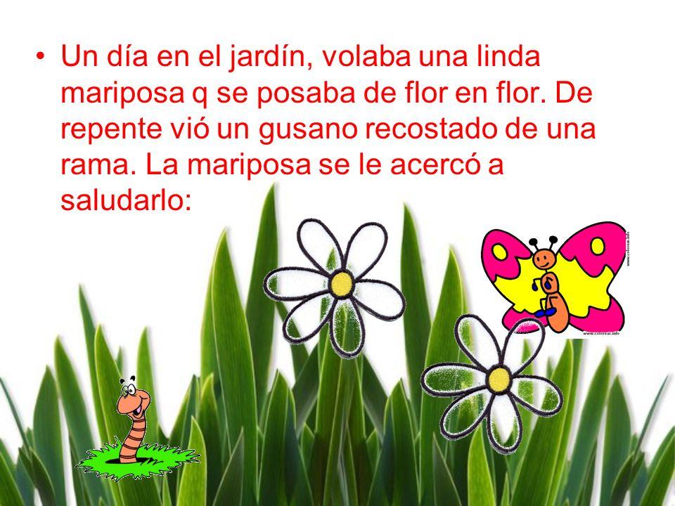 Un día en el jardín, volaba una linda mariposa q se posaba de flor en flor. De repente viό un gusano recostado de una rama. La mariposa se le acercó a