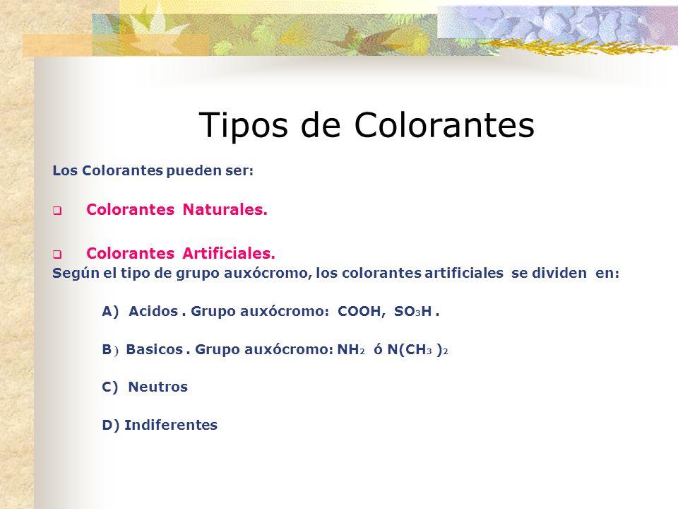 Tipos de Colorantes Los Colorantes pueden ser: Colorantes Naturales.