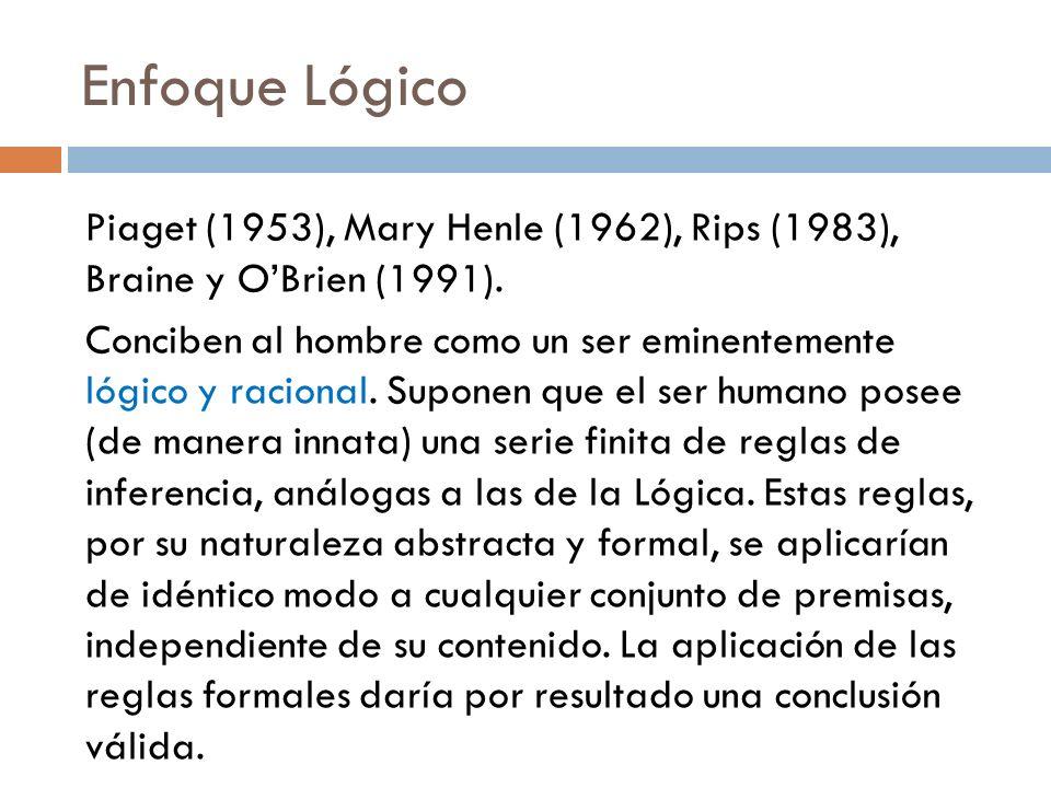Enfoque Lógico Piaget (1953), Mary Henle (1962), Rips (1983), Braine y OBrien (1991). Conciben al hombre como un ser eminentemente lógico y racional.