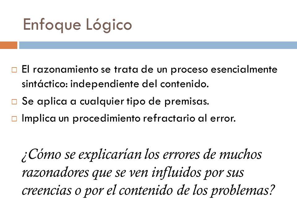 Enfoque Lógico El razonamiento se trata de un proceso esencialmente sintáctico: independiente del contenido. Se aplica a cualquier tipo de premisas. I