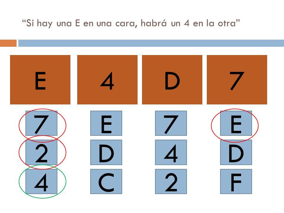 Si hay una E en una cara, habrá un 4 en la otra E4D7 7 2 4 E C D 2 4 7E D F