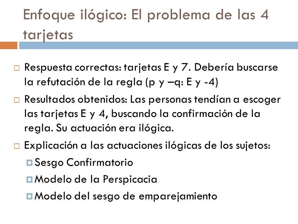 Enfoque ilógico: El problema de las 4 tarjetas Respuesta correctas: tarjetas E y 7. Debería buscarse la refutación de la regla (p y –q: E y -4) Result